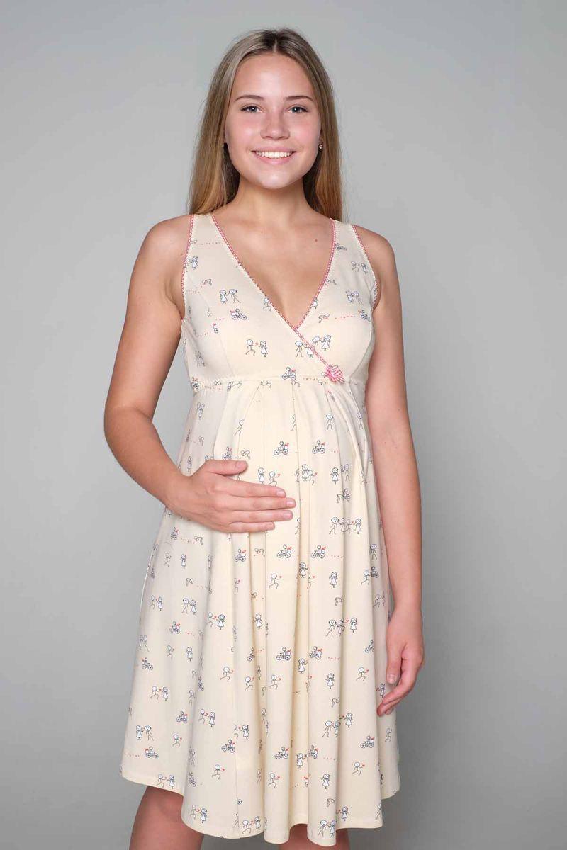 Ночная рубашка1-НМП 17502Комфортная сорочка для беременных и кормящих. Выполнена из мягкого трикотажного полотна. Женственный крой и кокетливый вырез на спинке подчеркнет вашу индивидуальность.