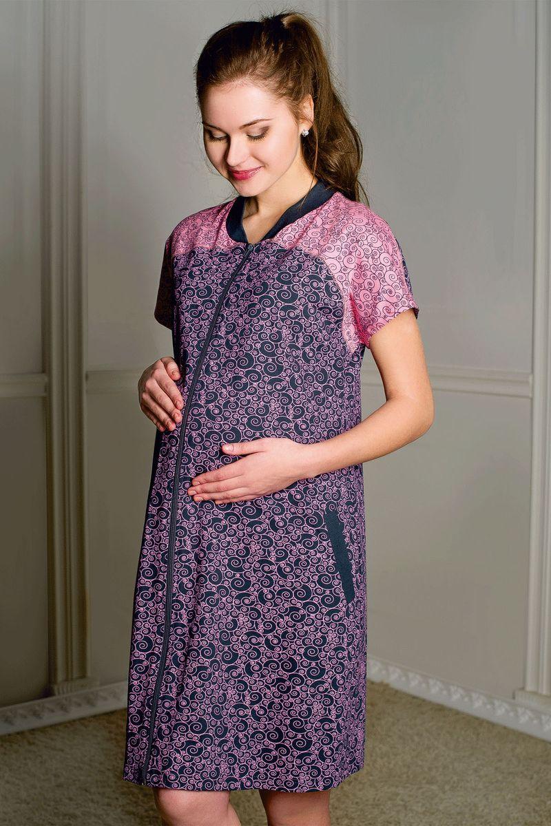 Халат для беременных и кормящих Hunny Mammy, цвет: серый, розовый. 1-К 06402. Размер 421-К 06402Халат женский для беременных и кормящих выполнен из хлопкового набивного трикотажа. Застежка на молнию, боковые карманы с листочками.