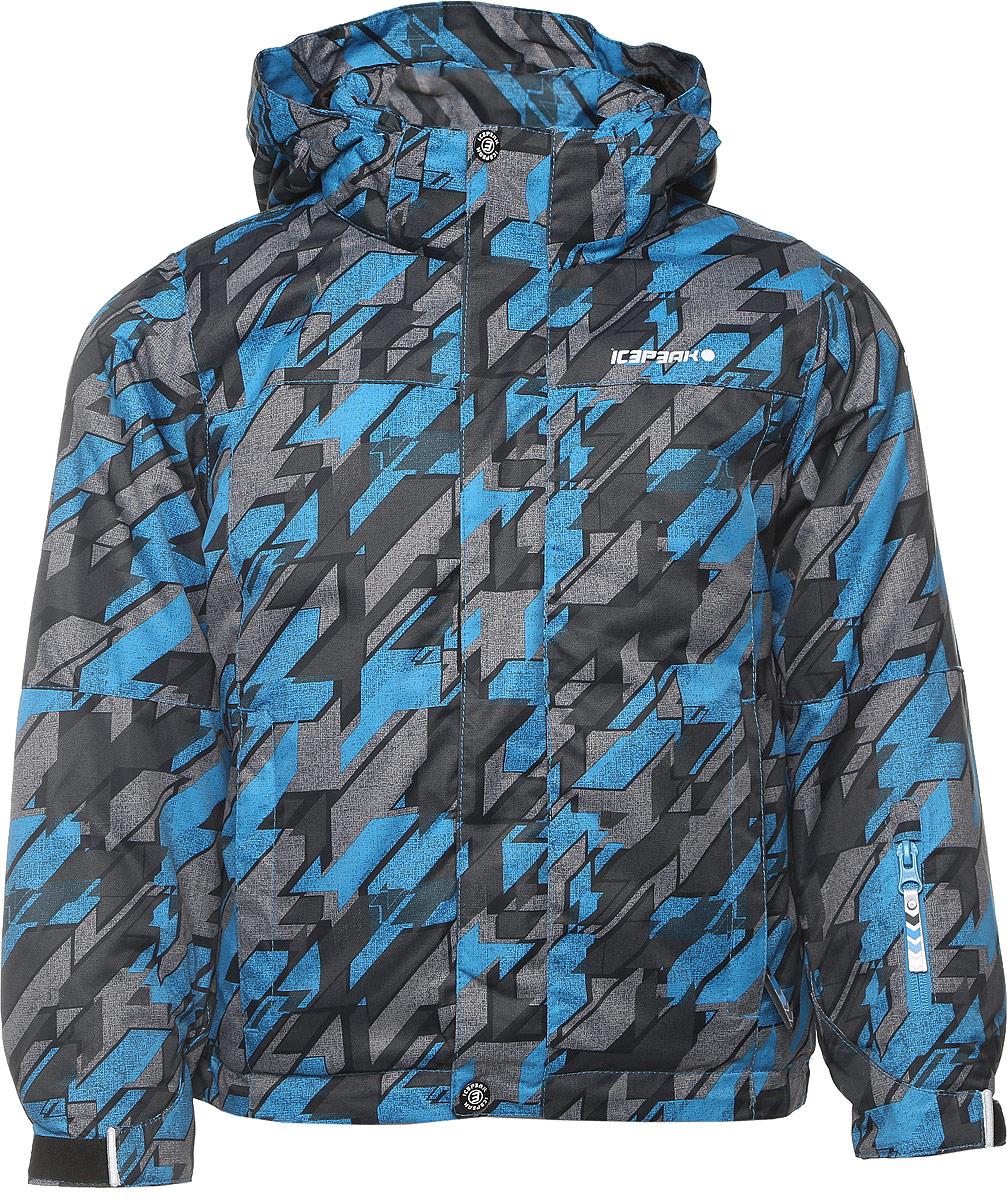 Куртка650029571IV_330Куртка для мальчика Icepeak Herman Jr выполнена из 100% полиэстера. Материал изготовлен при помощи технологии Icemax, которая обеспечит вашему ребенку надежную защиту от ветра и влаги. В качестве подкладки также используется полиэстер. Утеплителем служит материал FinnWad, который обладает высокими теплоизоляционными свойствами. Модель с воротником-стойкой и съемным капюшоном застегивается на застежку-молнию с защитой для подбородка и имеет ветрозащитную планку на липучках и кнопках. Капюшон пристегивается к изделию на кнопки. Низ рукавов дополнен эластичными вставками и хлястиками на липучках, а низ изделия - несъемной манжетой с прорезиненным нижним краем. Спереди расположены два прорезных кармана на застежках-молниях, а с внутренней стороны - накладной карман-сетка и прорезной карман на застежке-молнии. На левом рукаве расположен небольшой прорезной карман на застежке-молнии. Куртка оснащена специальными деталями Childrens safety для дополнительной безопасности ребенка во время...
