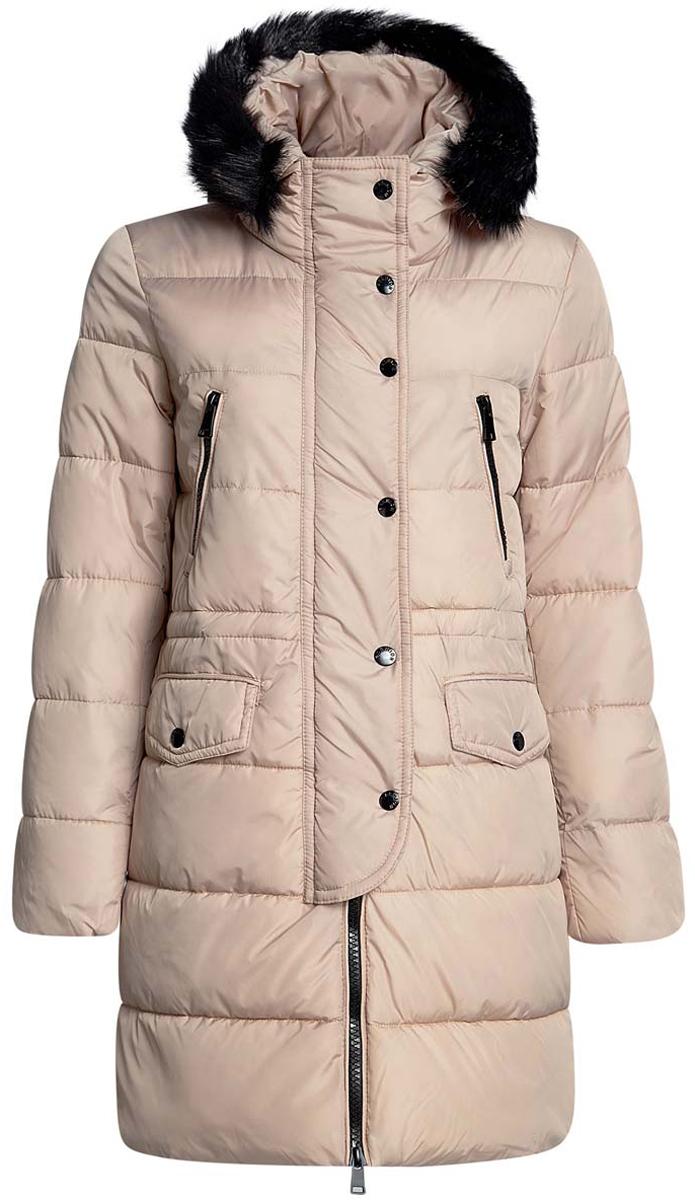 Куртка10203058/45928/3500NЖенская куртка oodji Ultra с длинными рукавами и несъемным капюшоном выполнена из прочного полиамида. Наполнитель - синтепон. Капюшон дополнен шнурком-кулиской и украшен съемным искусственным мехом на кнопках. Куртка застегивается на застежку-молнию спереди и имеет ветрозащитный клапан на кнопках. Изделие оснащено двумя втачными карманами на молниях и двумя втачными карманами с клапанами на кнопках спереди. Рукава дополнены внутренними трикотажными манжетами. На талии расположен шнурок-кулиска.