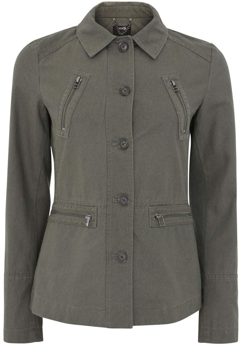 Куртка10304287/45286/6800NЖенская куртка oodji Ultra изготовлена из натурального хлопка. Текстильная модель с длинными рукавами и отложным воротничком застегивается на пуговицы. Куртка оснащена четырьмя карманами на застежках-молниях. Сзади модель дополнена шлицей.