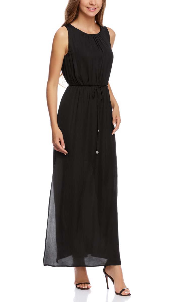 Платье21900323-1/42873/2900NПлатье oodji Collection выполнено из легкой струящейся ткани. Изделие имеет длину макси, два разреза на юбке по бокам, вырез-капельку на спинке и поясок-завязки на талии. Платье застегивается сзади на пуговицу.