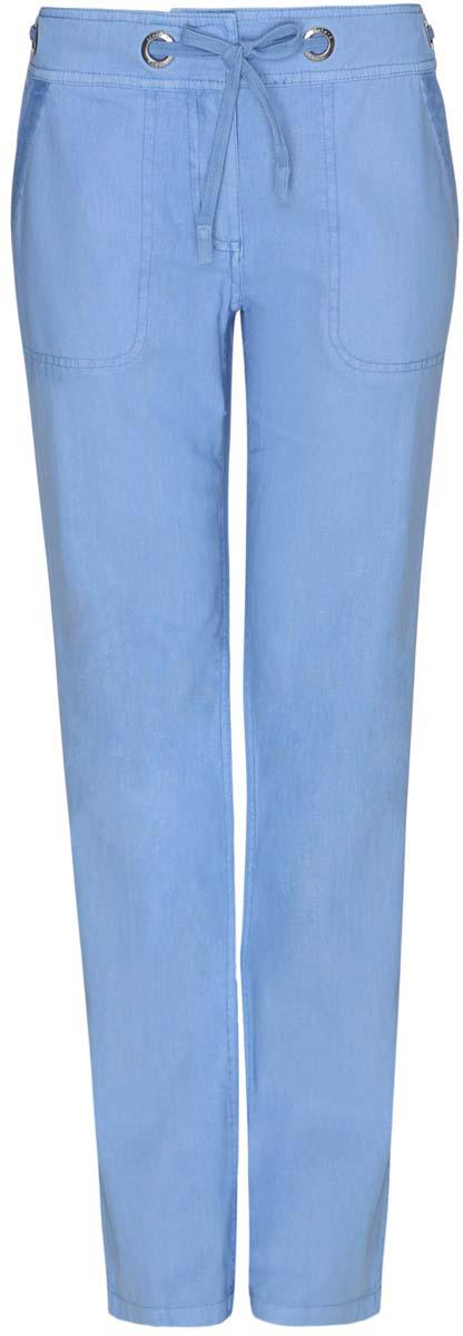 Брюки21704160/19638/7500NСтильные женские брюки oodji Collection выполнены из льна и хлопка. Брюки прямого кроя и стандартной посадки застегиваются на два крючка в поясе и ширинку на застежке-молнии, с внутренней стороны - на пуговицу. Пояс дополнен шнурком, пропущенным через металлические люверсы. Спереди модель дополнена двумя втачными карманами, сзади - двумя прорезными карманами на пуговицах.