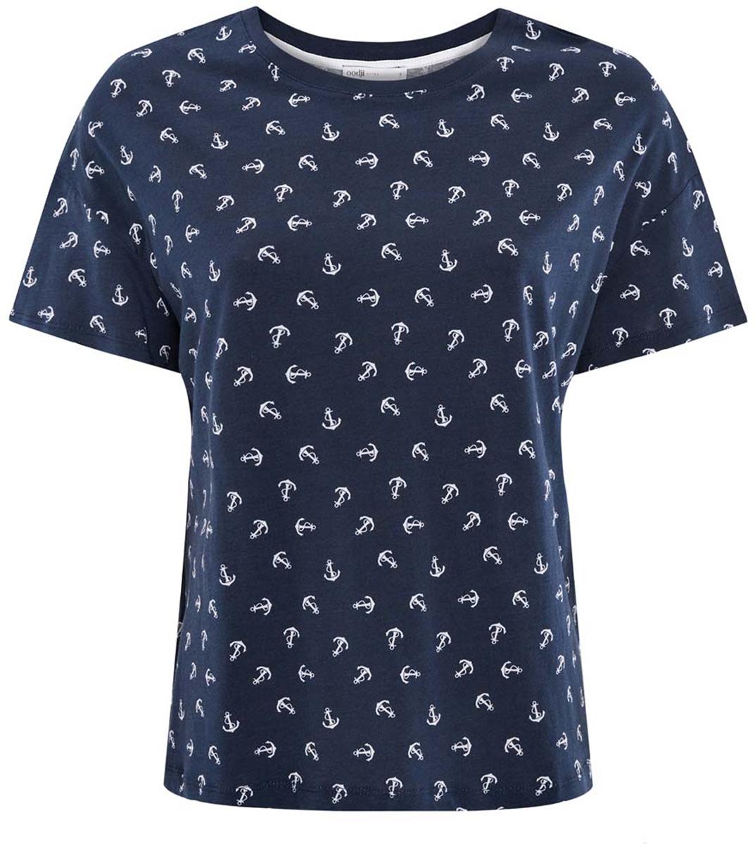 Футболка14701027/45528/7910OЖенская футболка oodji Ultra выполнена из высококачественного материала. Модель с круглым воротом и короткими рукавами оформлена оригинальным принтом.