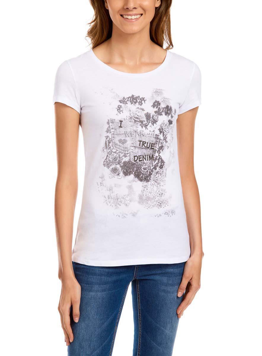 Футболка14701037-3M/26204/1025PСтильная женская футболка oodji Ultra выполнена из 100% хлопка. Модель с круглым вырезом горловины и короткими стандартными рукавами. Футболка оформлена оригинальным принтом со стразами.
