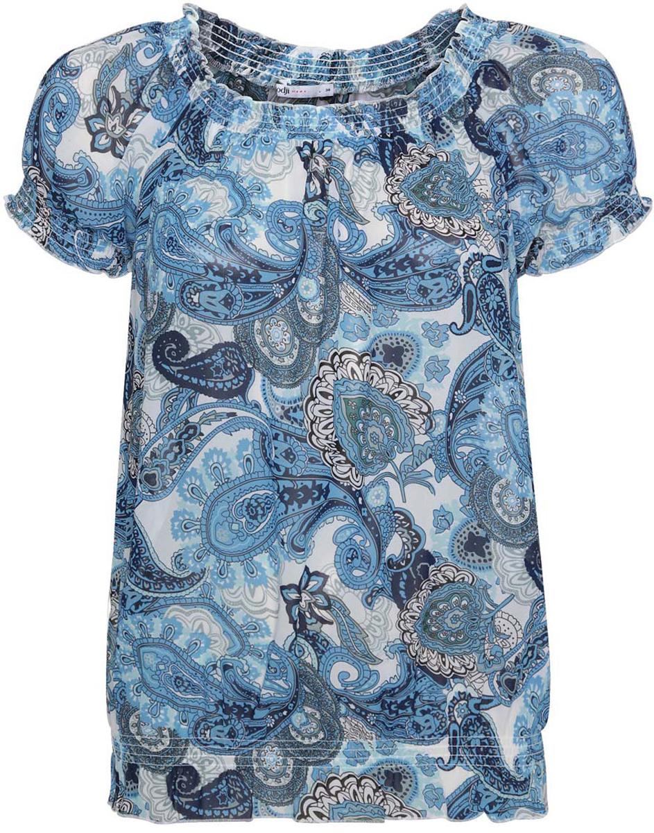 Блузка11400344-3/17358/1275EСтильная женская блузка oodji Ultra выполнена из 100% полиэстера. Модель с воротником лодочка и короткими рукавами оформлена оригинальным принтом.