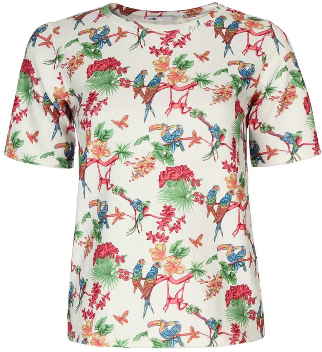 Блузка14701032/42588/1219FЖенская блуза oodji Ultra с короткими рукавами и круглым вырезом горловины выполнена из эластичного полиэстера. Блузка имеет свободный крой. Модель оформлена красочным принтом с изображением попугаев и тропических цветов.