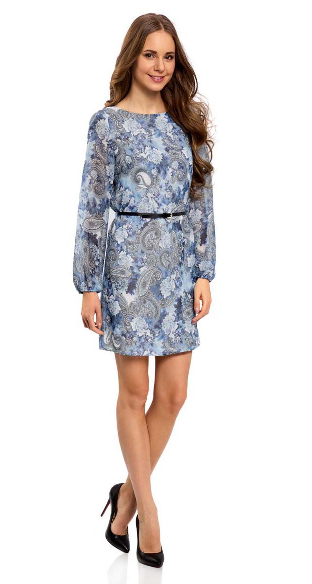 Платье11900150-5M/13632/1270EПлатье oodji Ultra с длинными рукавами-баллонами исполнено из легкой воздушной ткани. Имеет подкладку и вырез-лодочку воротника, к изделию прилагается пояс с металлической пряжкой.