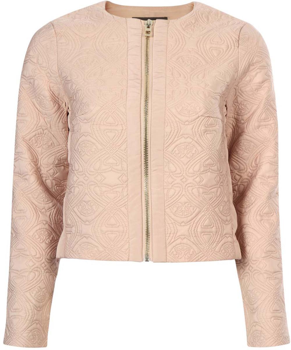 Куртка10304034-1/45366/3300NКуртка женская oodji Ultra исполнена из высококачественного полиэстера с добавлением полиамида. Подкладка так же исполнена из полиамида. Изделие имеет круглый вырез воротника, два кармана по бокам и длинные рукава, застегивается спереди на молнию. Куртка обладает приталенным силуэтом и плотно садится по фигуре.