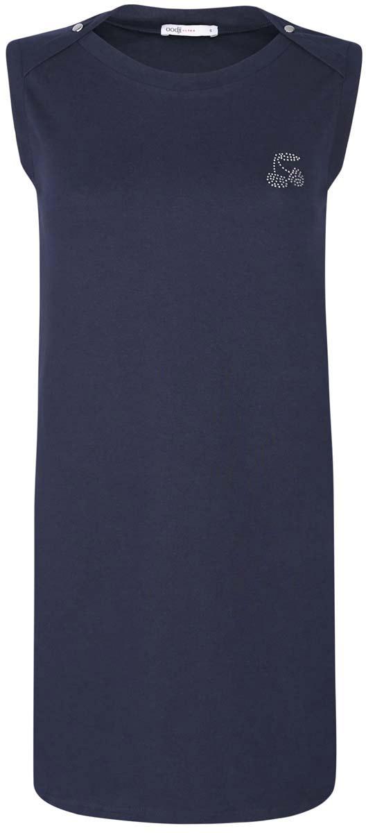 Платье oodji Ultra, цвет: темно-синий. 14005074-1/45602/7900N. Размер XXS (40)14005074-1/45602/7900NПлатье oodji Ultra выполнено из хлопка с добавлением полиуретана. Модель с круглым вырезом горловины, втачными карманами по бокам, небольшим принтом из страз на груди и без рукавов.