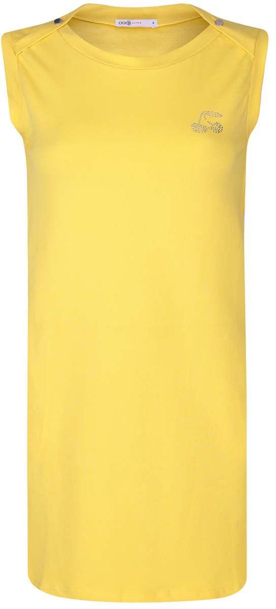 Платье oodji Ultra, цвет: желтый. 14005074-1/45602/5200N. Размер S (44)14005074-1/45602/5200NПлатье oodji Ultra выполнено из хлопка с добавлением полиуретана. Модель с круглым вырезом горловины, втачными карманами по бокам, небольшим принтом из страз на груди и без рукавов.