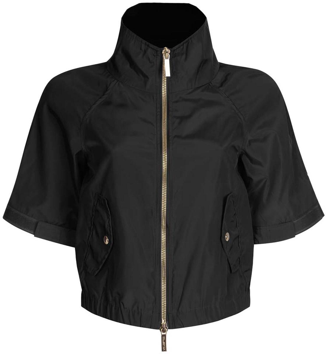 Куртка10307004/45462/7500NСтильная женская куртка oodji Ultra выполнена из качественного полиэстера. Куртка укороченной модели с рукавами-реглан длиной 3/4 и воротником-стойкой. Застегивается модель спереди на застежку- молнию. Низ куртки на широкой эластичной резинке. По бокам и на манжетах изделие дополнено хлястиками, которые регулируют посадку и объем с помощью липучек. Спереди куртка оформлена двумя втачными карманами с клапанами на кнопках.