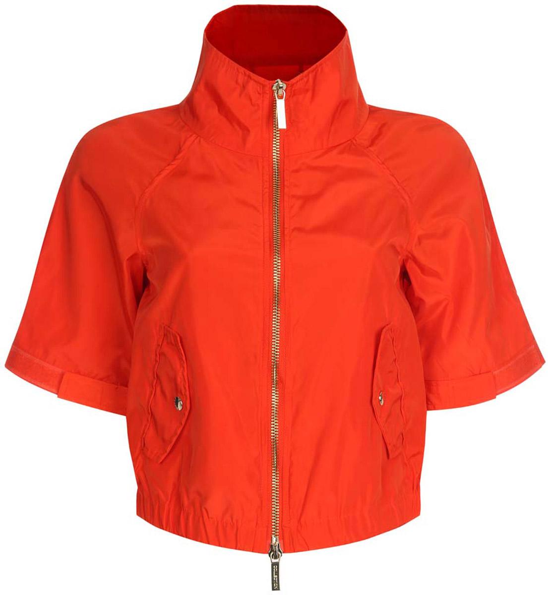 Куртка женская oodji Ultra, цвет: красный. 10307004/45462/4500N. Размер 36-170 (42-170)10307004/45462/4500NСтильная женская куртка oodji Ultra выполнена из качественного полиэстера. Куртка укороченной модели с рукавами-реглан длиной 3/4 и воротником-стойкой. Застегивается модель спереди на застежку-молнию. Низ куртки на широкой эластичной резинке. По бокам и на манжетах изделие дополнено хлястиками, которые регулируют посадку и объем с помощью липучек. Спереди куртка оформлена двумя втачными карманами с клапанами на кнопках.