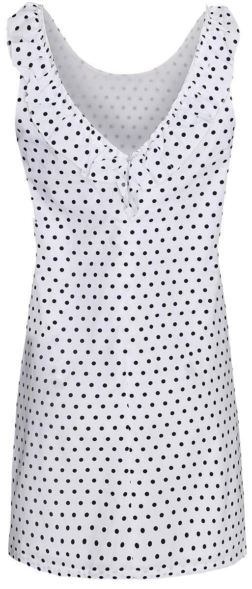 Платье11901149/17298/1075DМодное платье oodji Ultra станет отличным дополнением к вашему гардеробу. Модель выполнена из натурального хлопка. Платье-мини без рукавов с круглым вырезом горловины застегивается сзади по спинке на потайную застежку-молнию. V-образный вырез на спинке дополнен стильной трикотажной рюшей. Модель оформлена контрастным принтом в горох.