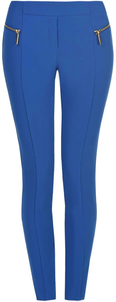 Брюки21707013-1/42250/7500NЖенские брюки oodji Collection стандартной посадки изготовлены из полиэстера с добавлением эластана. Изделие оформлено двумя декоративными застежками- молниями спереди. Имеется имитация ширинки.