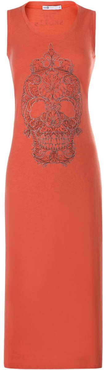 Платье14005134/45204/7991PПлатье oodji Ultra выполнено из хлопка с добавлением полиэстера. Модель длины макси с круглым вырезом горловины и без рукавов. Платье дополнено принтом и украшено стразами.