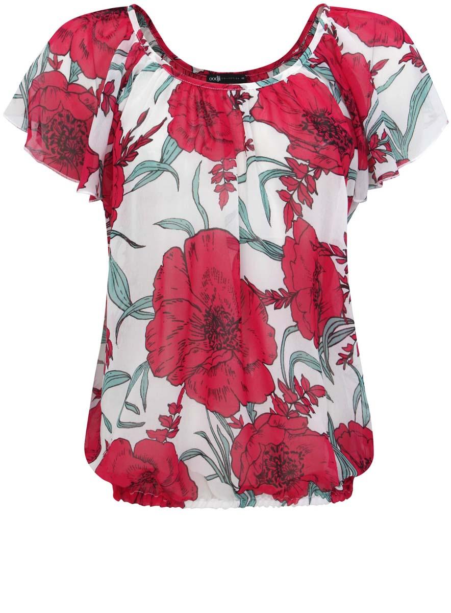 Блузка21400338-1/35202/104DFЖенская блузка oodji Collection выполнена из прозрачного полиэстера. Модель с большим круглым вырезом и рукавами реглан. Верх блузки оформлен складками. Блузка декорирована принтом с крупными цветами. Низ изделия собран на резинку.