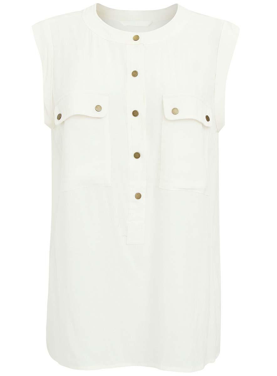 Блузка21412120/35179/1200NЖенская блузка oodji Collection выполнена из вискозы. Модель с круглым вырезом горловины. Спереди изделие дополнено карманами и застегивается на металлические застежки-кнопки.