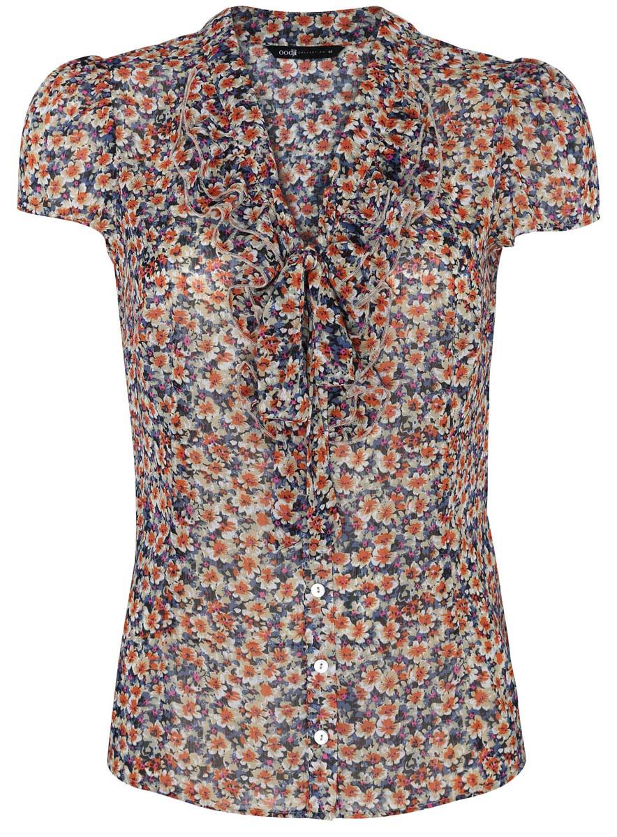 Блузка21406022-4/10466/7555FЖенская блузка oodji Collection выполнена из 100% полиэстера. Модель с V- образным вырезом горловины и короткими рукавами застегивается на пуговицы. Воротник блузки дополнен завязками. Изделие оформлено цветочным принтом.