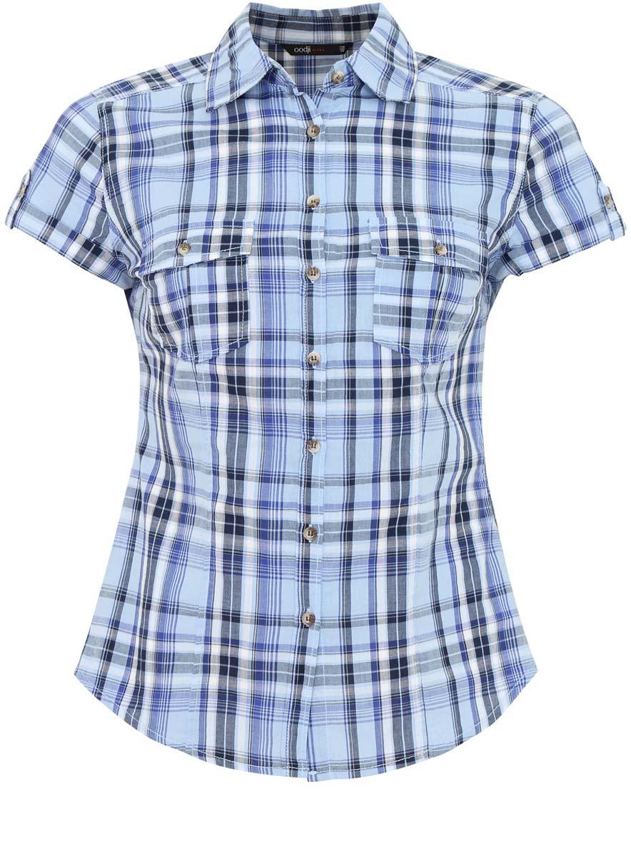 Блузка женская oodji Ultra, цвет: голубой, синий, серый. 11402084-4/35293/7075C. Размер 40-170 (46-170)11402084-4/35293/7075CЖенская блузка oodji Ultra выполнена из натурального хлопка. Модель с короткими рукавами и отложным воротничком полностью застегивается на пуговицы. Лицевая сторона оформлена двумя накладными карманами под клапанами на пуговицах. Низ изделия слегка закруглен.