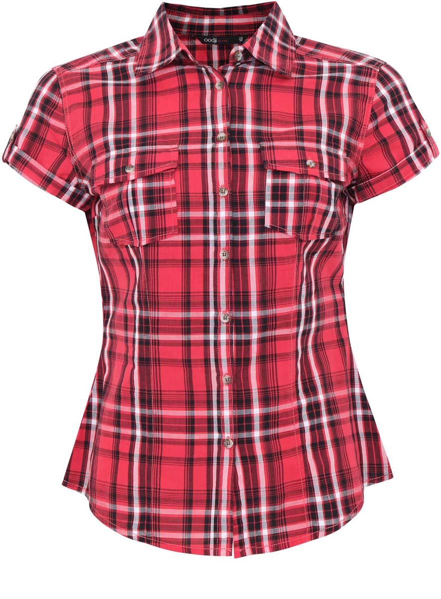 Блузка женская oodji Ultra, цвет: красный, черный, белый. 11402084-4/35293/4529C. Размер 36-170 (42-170)11402084-4/35293/4529CЖенская блузка oodji Ultra выполнена из натурального хлопка. Модель с короткими рукавами и отложным воротничком полностью застегивается на пуговицы. Лицевая сторона оформлена двумя накладными карманами под клапанами на пуговицах. Низ изделия слегка закруглен.