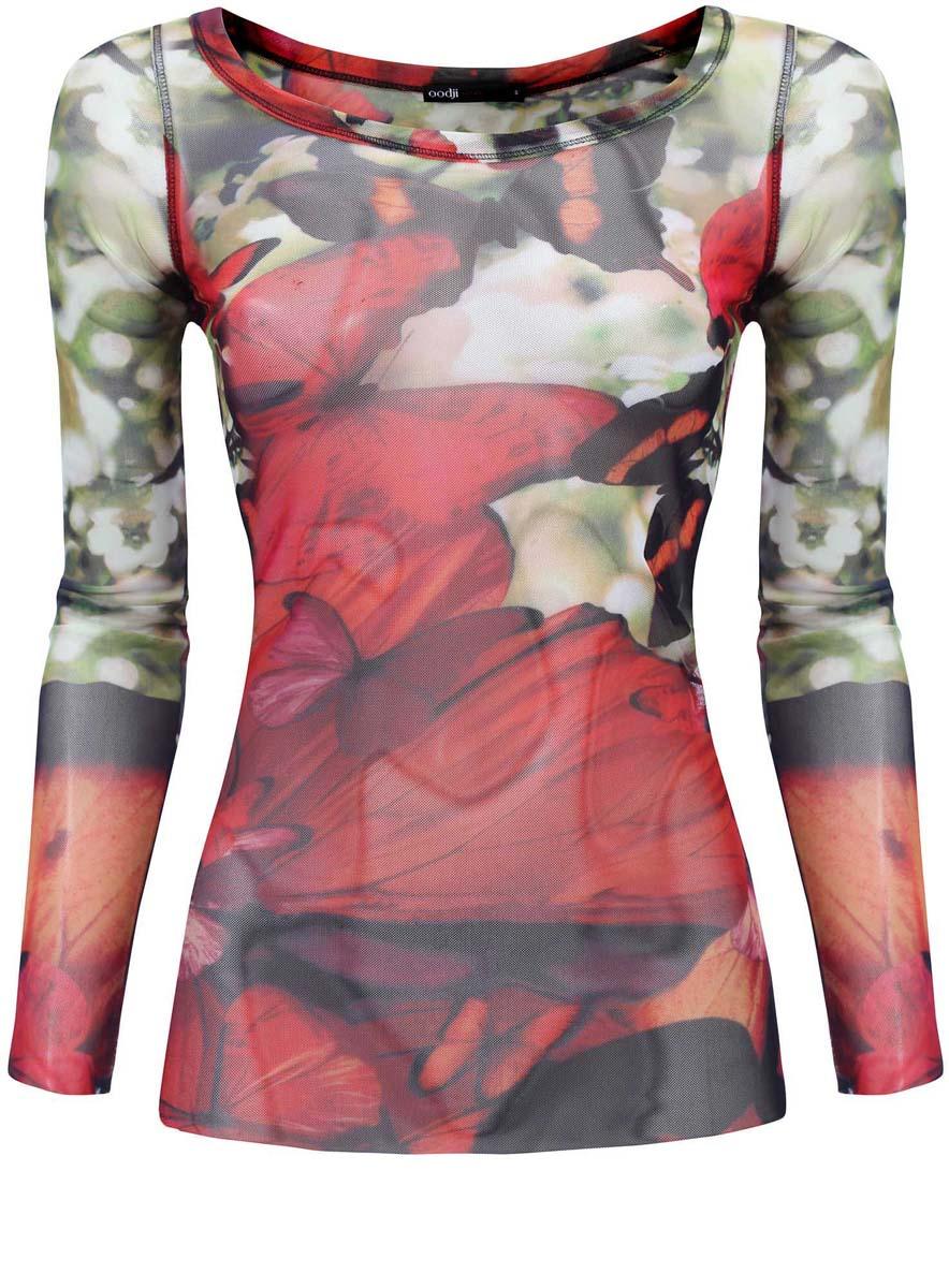 Блузка14211003/45401/5562UЖенская блузка oodji Ultra выполнена из полиэстера с добавлением полиуретана. Модель с круглым вырезом горловины и длинными рукавами оформлена оригинальным принтом.