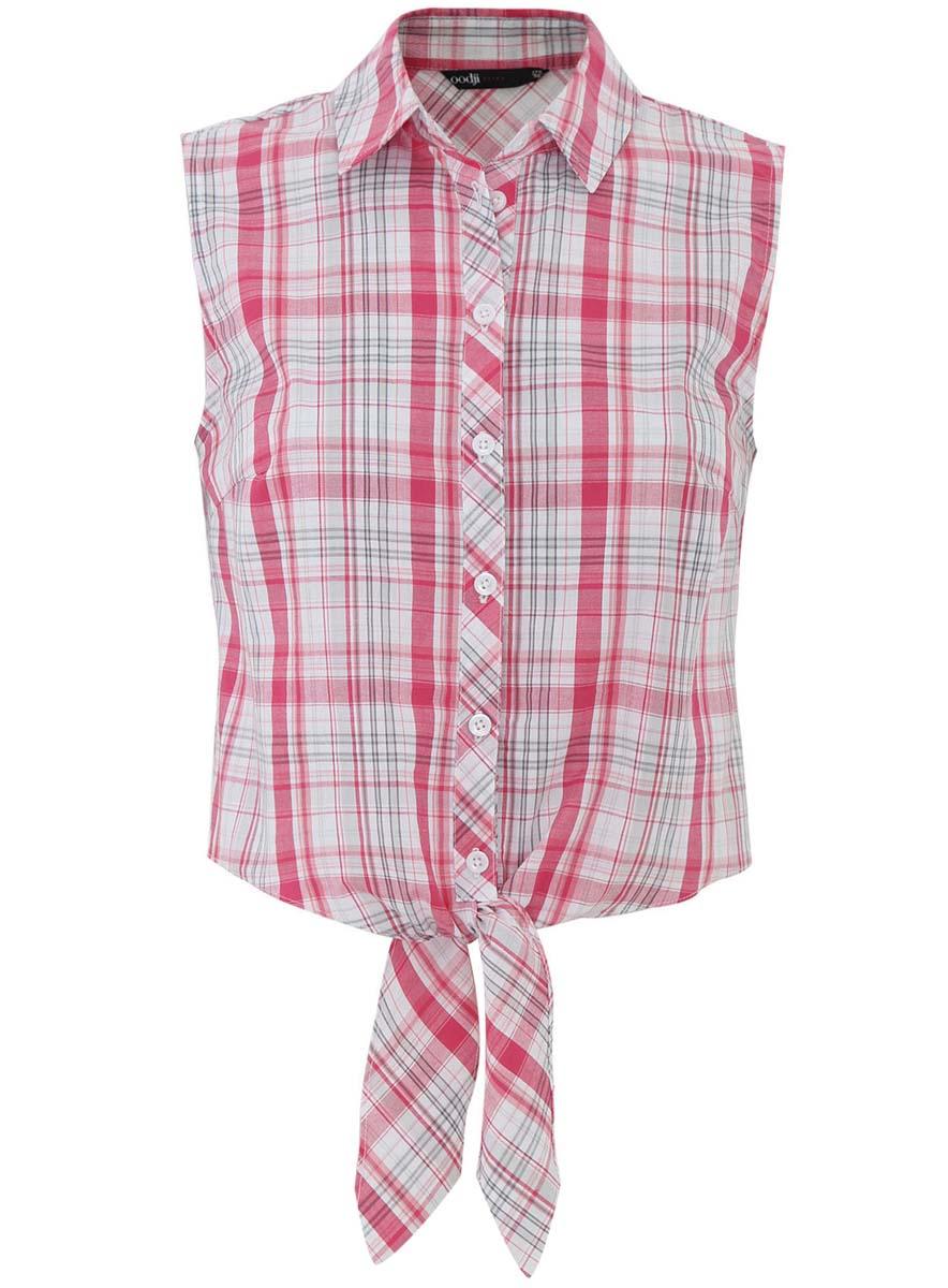 Блузка женская oodji Ultra, цвет: розовый, белый, серый. 11400419-1/42753/4D10C. Размер 36-170 (42-170)11400419-1/42753/4D10CОригинальная женская блузка oodji Ultra выполнена из натурального хлопка. Модель с отложным воротничком полностью застегивается на пуговицы. Передняя часть блузки длиннее спинки и внизу дополнена длинными тканевыми завязками.