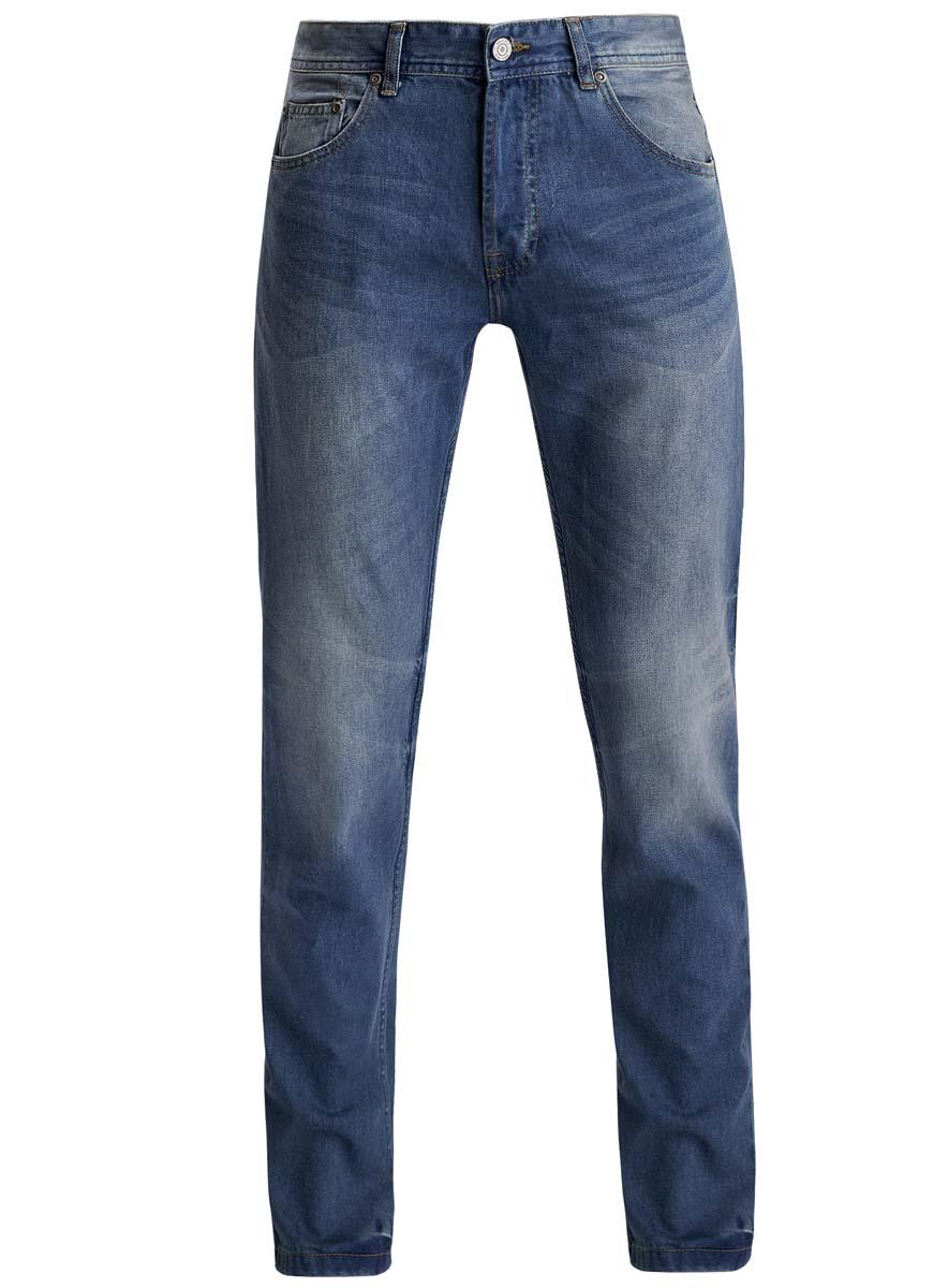 Джинсы мужские oodji, цвет: синий джинс. 6L130046M/35771/7500W. Размер 31-32 (48-32)6L130046M/35771/7500WМодные мужские джинсы oodji выполнены из высококачественного 100% хлопка, что обеспечивает комфорт и удобство во время носки. Джинсы прямой модели имеют стандартную посадку. Модель застегивается на пуговицу в поясе и три скрытые пуговицы, дополнена шлевками для ремня. Джинсы имеют классический пятикарманный крой: спереди расположены два втачных кармана и один небольшой накладной карман, а сзади - два накладных кармана. Модель оформлена эффектом потертости.