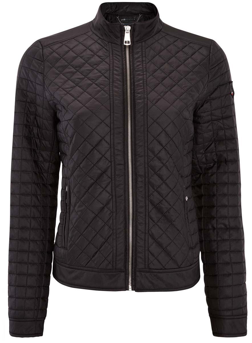 Куртка28304005/45684/2900NЖенская куртка oodji Collection выполнена из 100% полиамида. В качестве утеплителя используется 100% полиэстер. Модель с воротником-стойкой и длинными рукавами застегивается на молнию. Спереди куртка дополнена двумя карманами на застежке-молнии.
