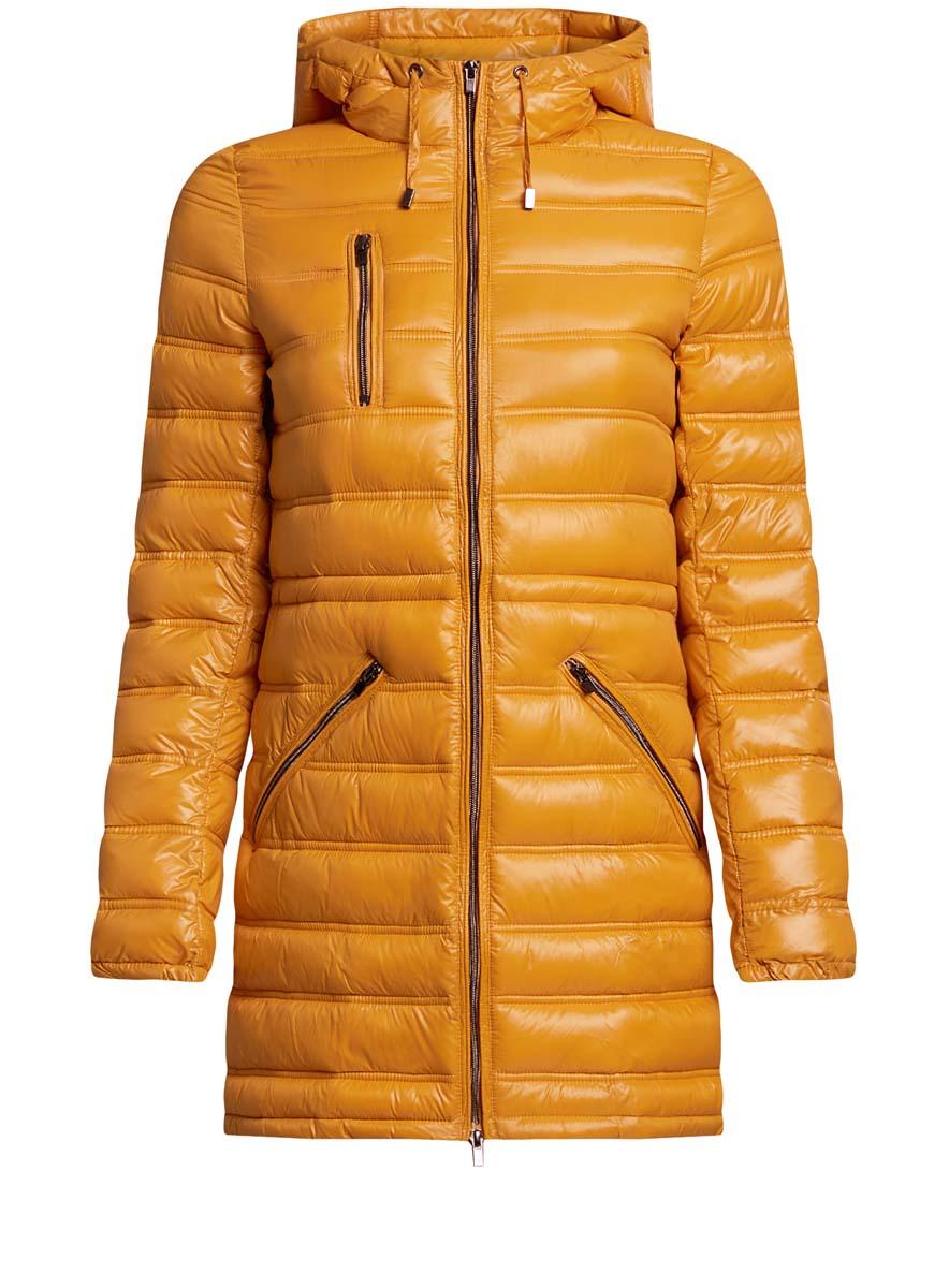 Куртка женская oodji Ultra, цвет: горчичный. 10203056/33445/5200N. Размер 34-170 (40-170)10203056/33445/5200NЖенская куртка oodji Ultra выполнена из 100% полиамида. В качестве подкладки также используется полиамид, а утеплителем служит 100% полиэстер. Модель с несъемным капюшоном застегивается на застежку-молнию с внутренней ветрозащитной планкой. Край капюшона и низ изделия дополнены шнурком-кулиской. Низ рукавов присобран на резинку. Спереди расположено три прорезных кармана на застежках-молниях, один из которых расположен на груди.