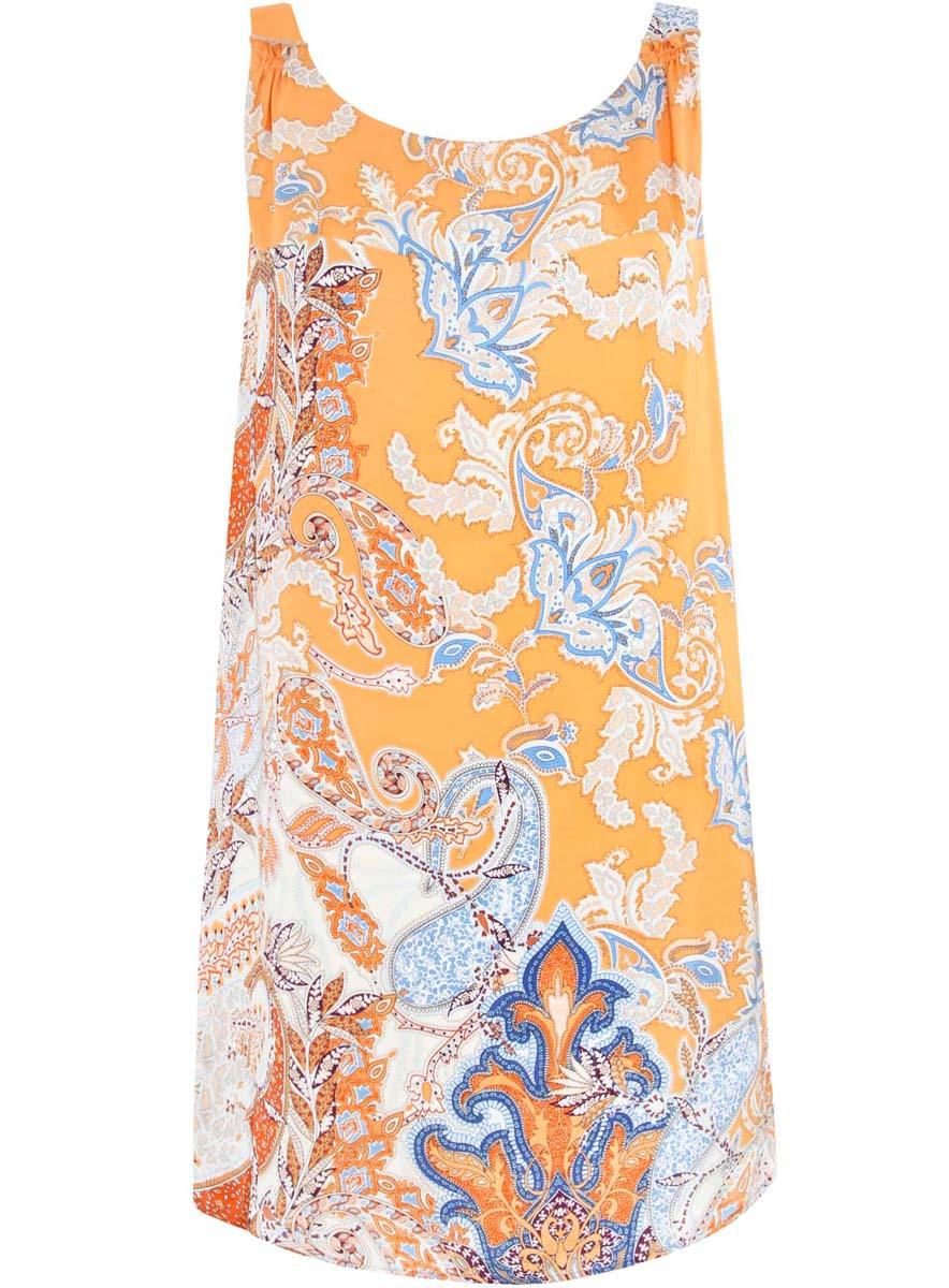 Платье21900314/42716/5570EПлатье oodji Collection выполнено полностью из полиэстера. Модель на бретелях свободного кроя и с круглым вырезом горловины. Платье оформлено этническим принтом.