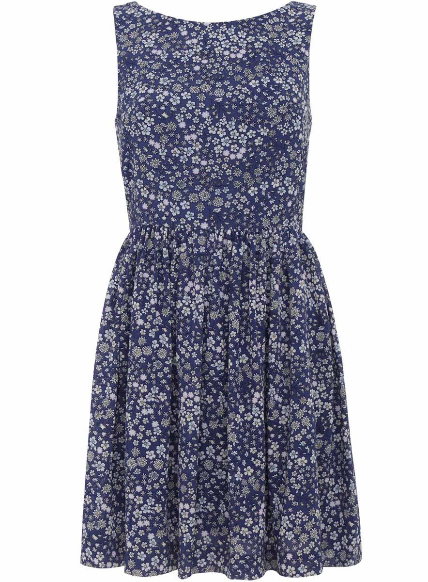 Платье11900181/35271/7970FСтильное платье oodji Ultra полностью выполнено из полиэстера. Модель с круглым вырезом горловины и без рукавов застегивается на спинке на застежку-молнию и кнопку. На спинке имеется вырез с небольшим бантом. Платье оформлено цветочным принтом.