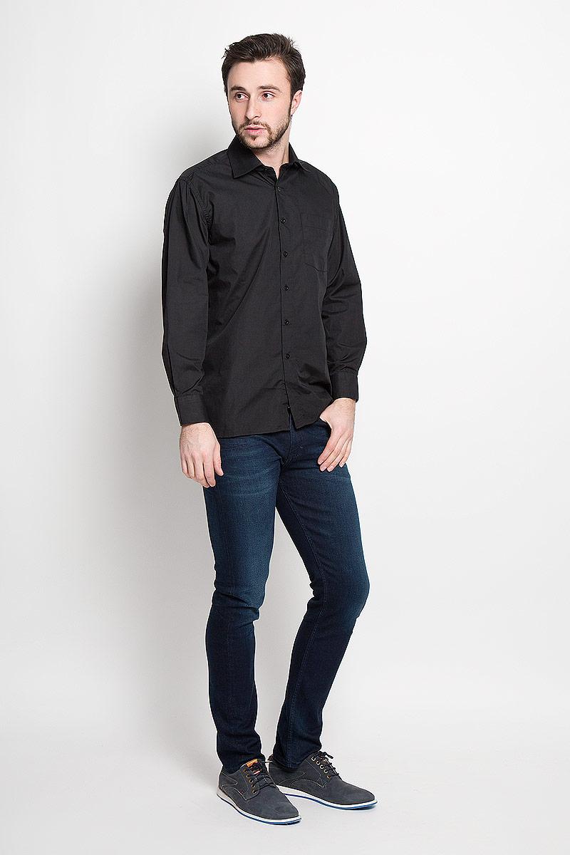 РубашкаDF 420 ст.Отличная мужская рубашка Maestro, хлопка с добавлением полиэстера. Рубашка прямого кроя с длинными рукавами и отложным воротником застегивается на пуговицы. Модель дополнена одним нагрудным карманом.