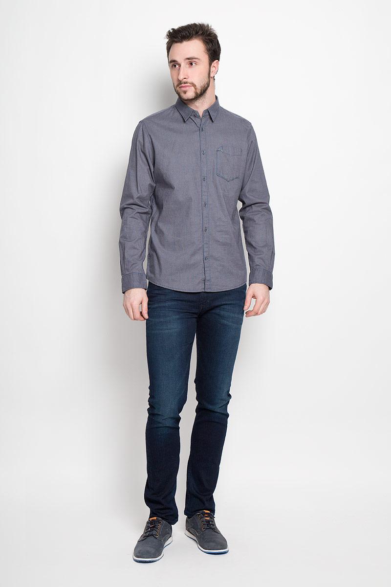 Рубашка мужская Tom Tailor, цвет: бежевый, синий. 2032640.00.10_8281. Размер M (48)2032640.00.10_8281Стильная мужская рубашка Tom Tailor выполнена из натурального хлопка. Модель с отложным воротником и длинными рукавами застегивается на пуговицы спереди и оснащена нагрудным карманом. Манжеты рукавов дополнены застежками-пуговицами.