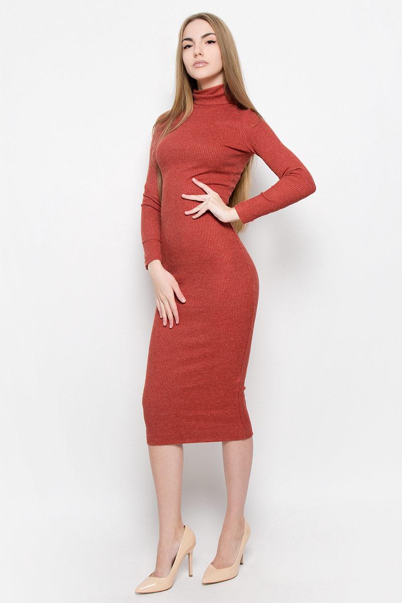 Платье Ruxara, цвет: терракотовый. 114900. Размер 44114900Элегантное и уютное платье макси изготовлено из вязаного трикотажа. Модель облегающего кроя с длинным рукавом и высоким воротником гольф.