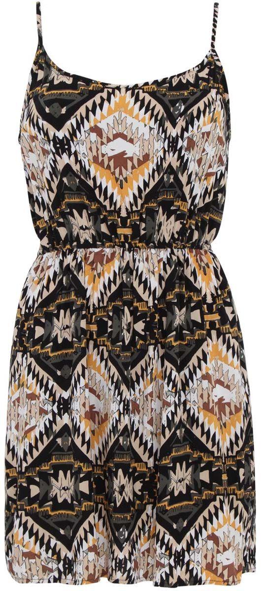 Платье11900157-3/26346/2933EПлатье oodji Ultra без рукавов изготовлено из качественной вискозы. Модель-мини оформлена тонкими бретельками, длину которых можно регулировать. На талии ткань собрана на внутреннюю резинку.