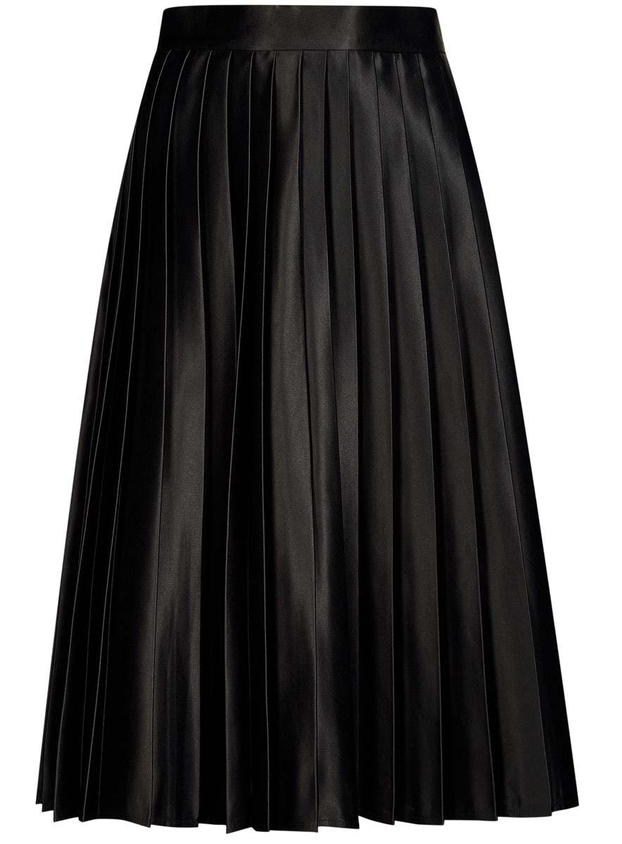 Юбка oodji Collection, цвет: черный. 21606021/24393/2900N. Размер 42-170 (48-170)21606021/24393/2900NЮбка в складку oodji Collection изготовлена из полиэстера - износостойкого не мнущегося быстросохнущего материала и имеет длину миди. Так же изделие обладает средней посадкой на талии и застегивается сбоку на молнию.