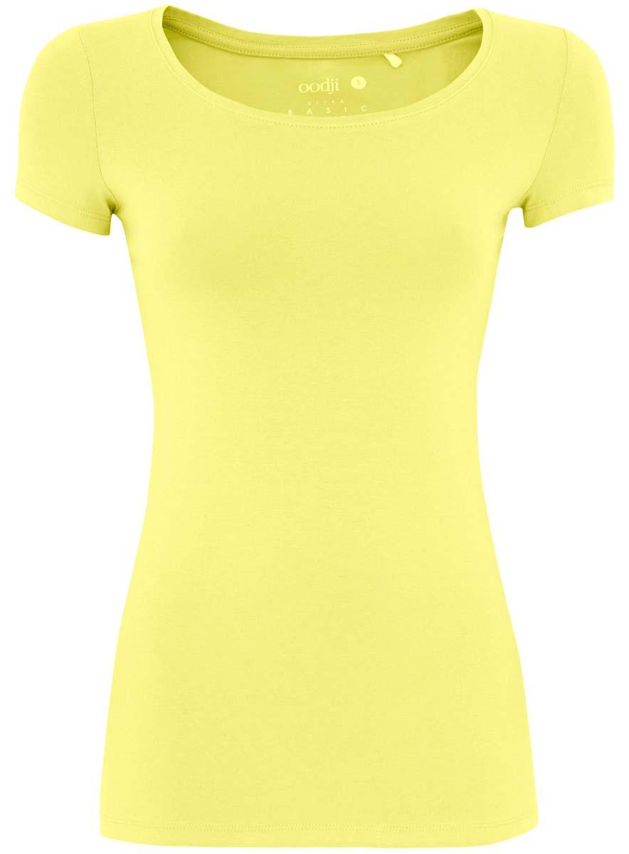 Футболка женская oodji Ultra, цвет: желтый. 14701005/35918/6700N. Размер XS (42)14701005/35918/6700NБазовая женская футболка oodji Ultra Basic выполнена из хлопка с добавлением эластана. Модель с круглым вырезом горловины и короткими стандартными рукавами.