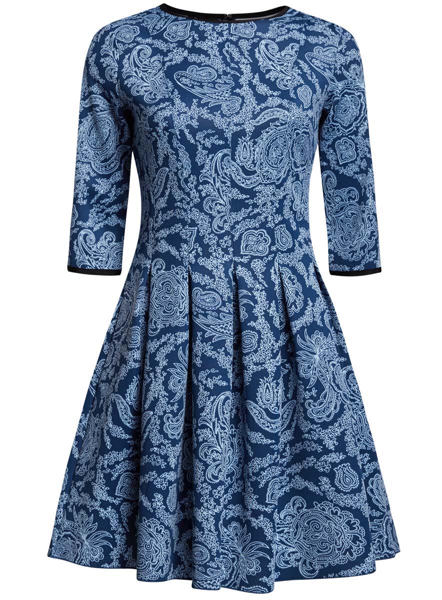 Платье oodji Ultra, цвет: темно-синий, голубой. 14001148-1/33735/7970E. Размер S (44)14001148-1/33735/7970EПлатье oodji Ultra изготовлено из эластичной плотной облегающей ткани. Модель имеет юбку с клиньями, рукава 3/4, круглый вырез воротника и застегивается на крючок сзади.