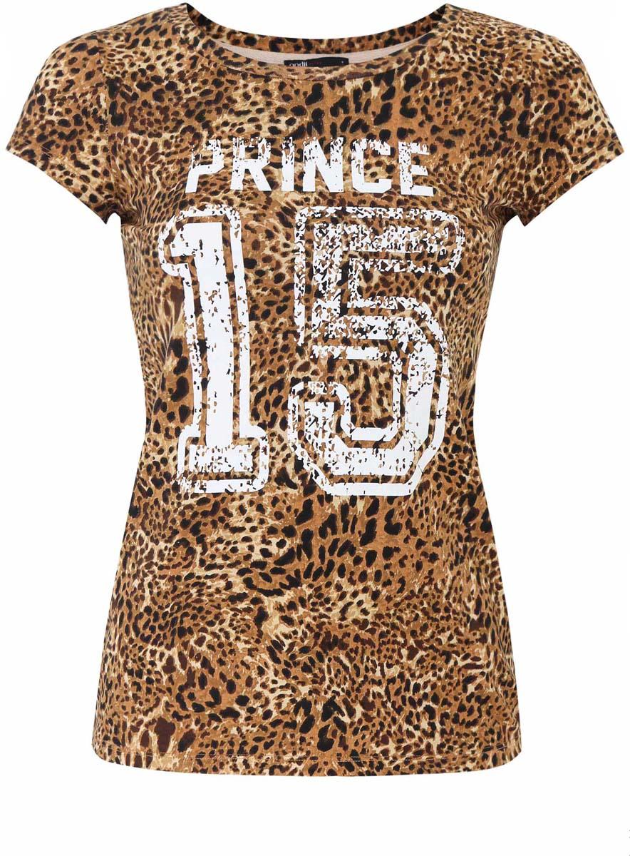 Футболка14700001/26222/3510PСтильная женская футболка oodji Ultra выполнена из натурального хлопка. Модель с круглым вырезом горловины и короткими рукавами. Оформлена футболка оригинальным леопардовым принтом и дополнена надписями.