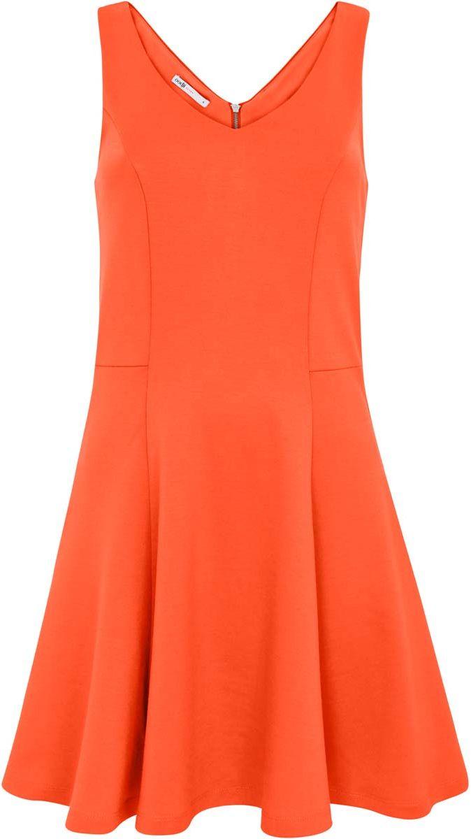 Платье14005126/18610/5500NСтильное платье oodji Ultra изготовлено из плотного трикотажа и застегивается сзади на молнию. Модель без рукавов выполнена с V-образным вырезом спереди и сзади. Подол платья расклешен.