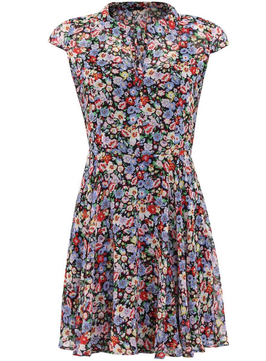 Платье11900200M/38375/1929FЯркое шифоновое платье oodji Ultra - модное решение на каждый день. Модель мини-длины, выгодно подчеркивающая достоинства фигуры, оформлена ярким цветочным принтом. Изделие имеет отложной воротничок с завязками и застегивается на скрытую застежку-молнию.