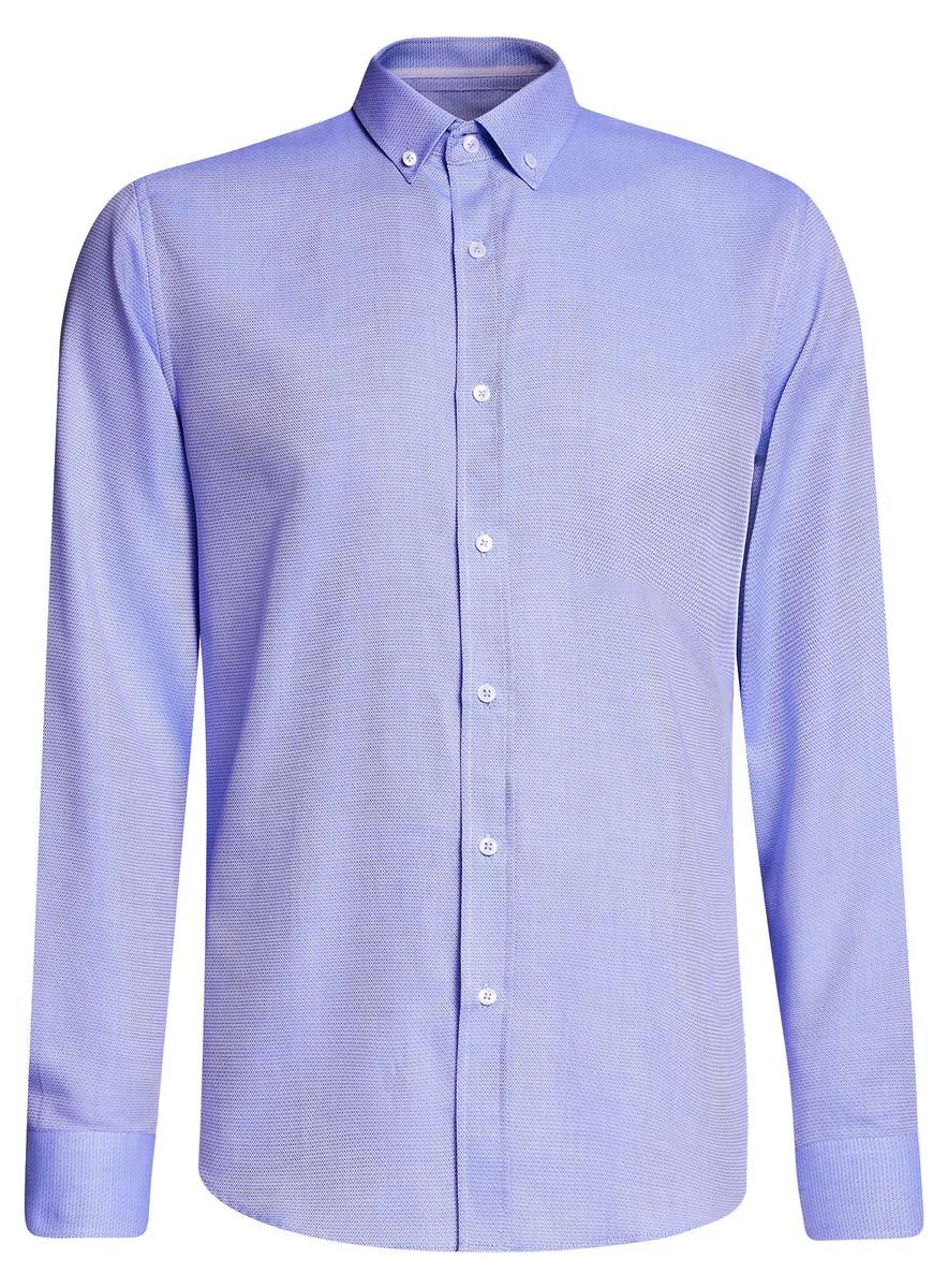 Рубашка3B110015M/46246N/1070BПриталенная мужская рубашка oodji Basic, изготовленная из хлопка с добавлением полиэстера, оформлена геометрическим принтом. У модели отложной воротник, длинные стандартные рукава с манжетами дополнены пуговицами. Подол полукруглый. Спереди изделие застегивается на планку с пуговицами.