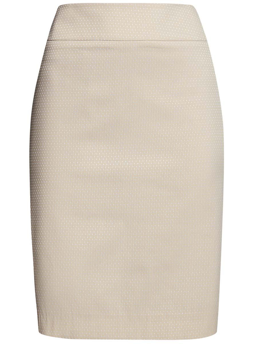 Юбка oodji Collection, цвет: бежевый, белый. 21601236-13/46373/3320D. Размер 42-170 (48-170)21601236-13/46373/3320DСтильная юбка oodji Collection выполнена из качественного комбинированного материала на подкладке из полиэстера. Модель-миди застегивается сзади на потайную молнию. Оформлена юбка мелким принтом в горох. Сзади изделие имеет небольшую шлицу.