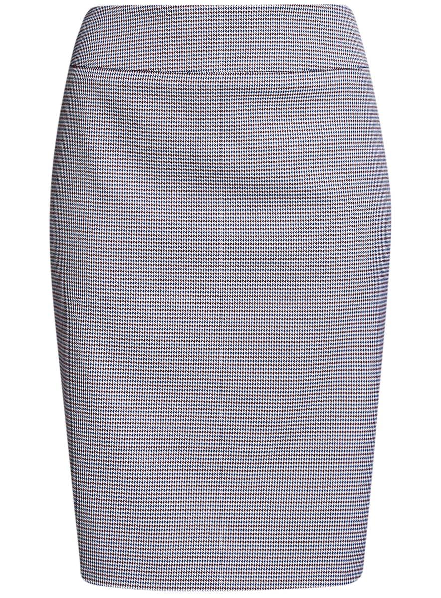 Юбка21601236-11/46284/1229CСтильная жаккардовая юбка oodji Collection выполнена из качественного комбинированного материала на подкладке из полиэстера. Модель-миди прямого кроя застегивается сзади на потайную молнию. Оформлена юбка принтом в мелкую клетку. Сзади изделие дополнено небольшой шлицей.