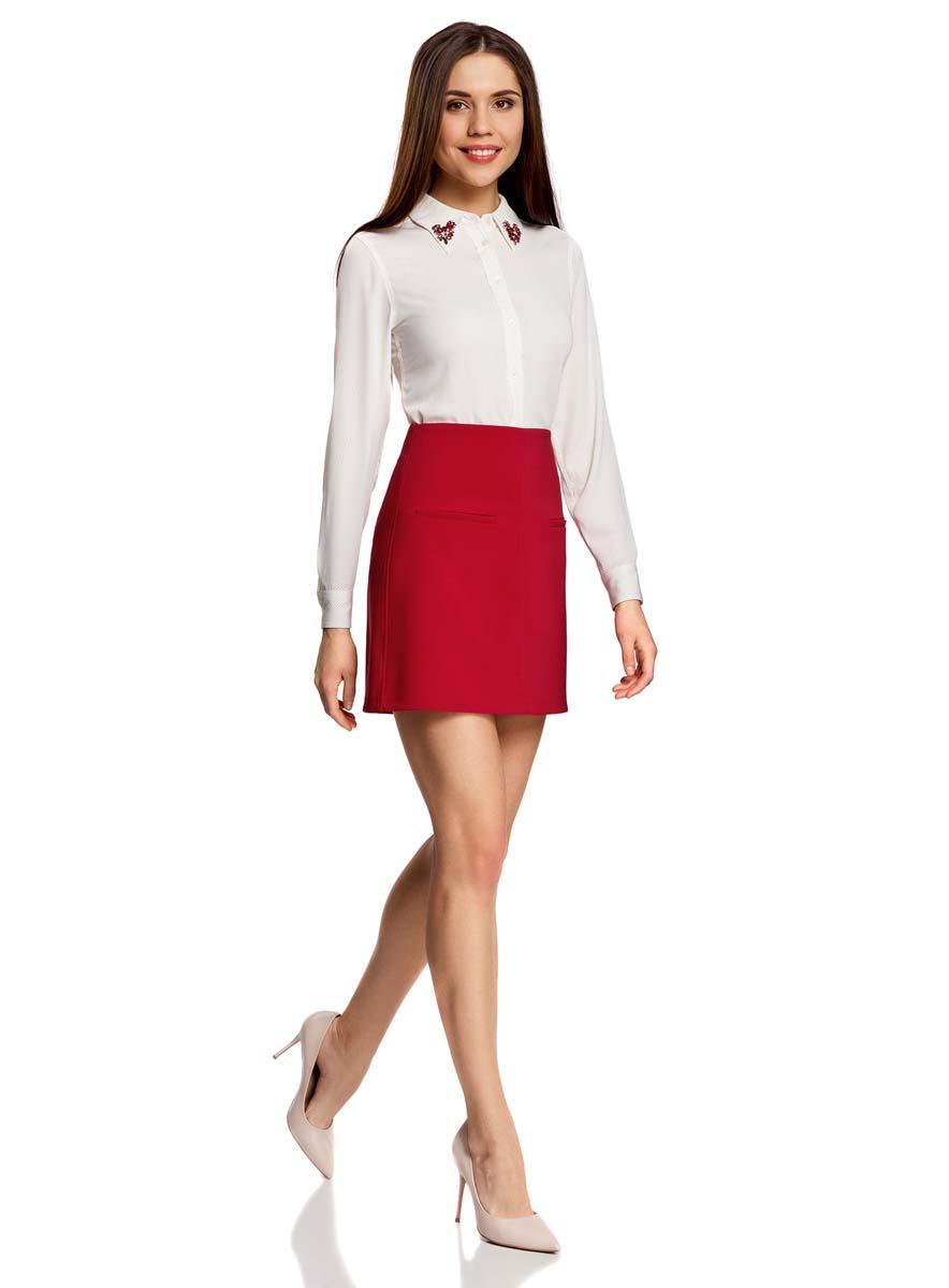 Юбка11600427-1/42250/5500NСтильная юбка oodji Ultra выполнена из полиэстера с добавлением полиуретана. Модель-трапеция с двумя декоративными карманами на лицевой стороне застегивается на застежку-молнию на спинке.