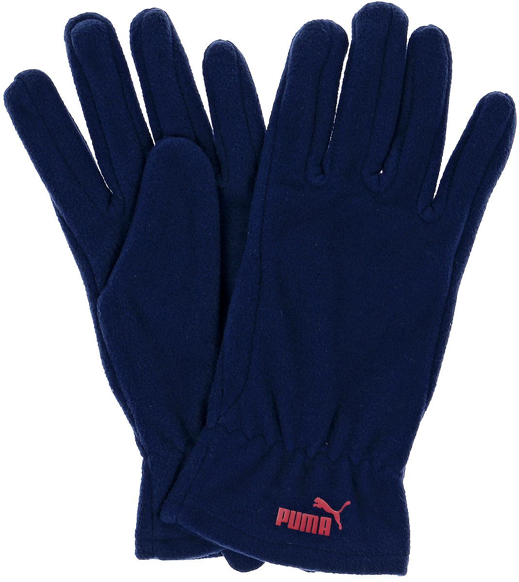 Перчатки Puma Snow Fleece Gloves, цвет: синий. 04127303. Размер M (24)041273_03Мягкие и удобные перчатки из флиса снабжены застежками на липучке для подгонки по руке, а также декорированы спереди тисненым прорезиненным логотипом PUMA.