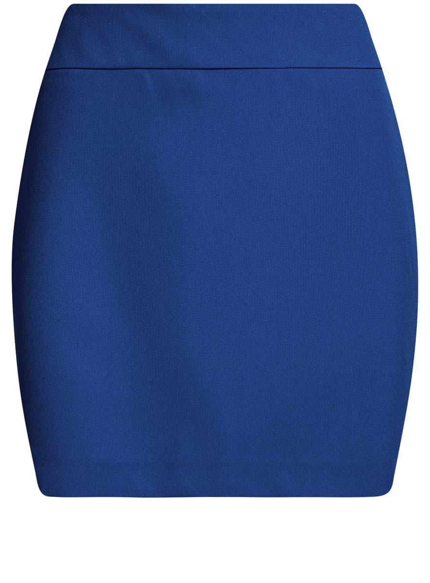 Юбка oodji Ultra, цвет: синий. 11600399-1B/14917/7500N. Размер 42-170 (48-170)11600399-1B/14917/7500NЮбка oodji Ultra выполнена из 100% полиэстера и имеет гладкий непрозрачный подъюбник. Юбка-мини облегающей посадки и классического кроя застегивается на потайную застежку-молнию сзади. Однотонная модель имеет пришивной пояс и шлицу.