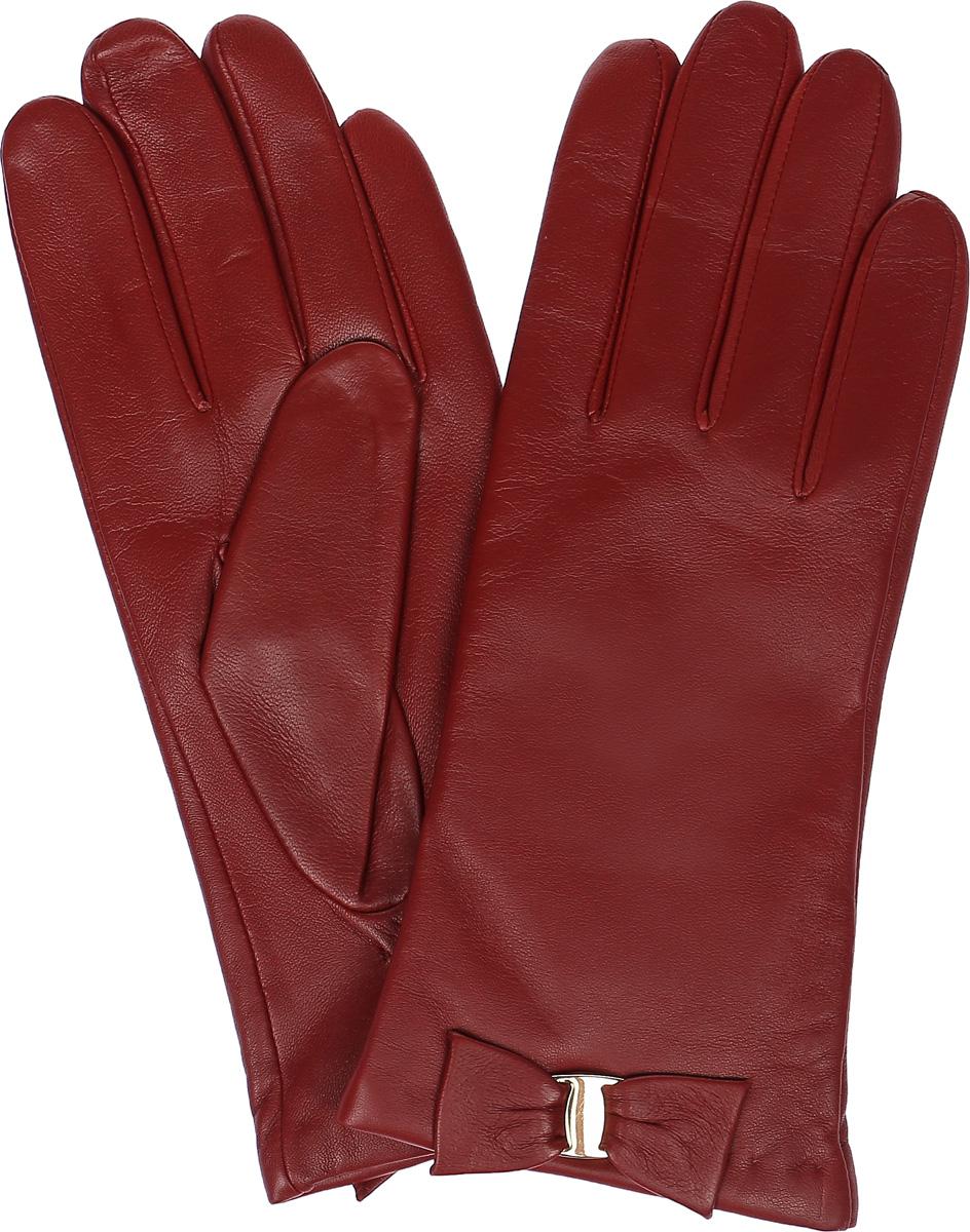 Перчатки женские Labbra, цвет: красно-коричневый. LB-0305. Размер 8LB-0305Женские перчатки Labbra выполнены из натуральной кожи. Внутренняя поверхность модели изготовлена из шерсти и акрила, которые обеспечат тепло и комфорт. Оформлены перчатки элегантным бантиком с металлической пластиной.
