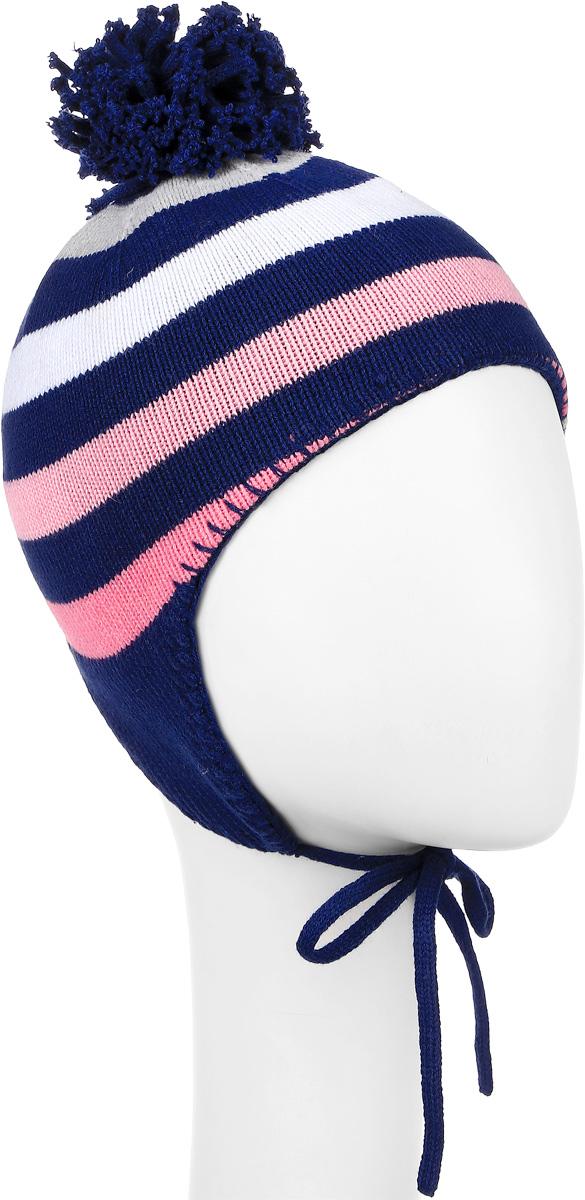 Шапка детская368031Шапка для девочки PlayToday Baby выполнена из хлопка с добавлением акрила. Шапка дополнена пушистым помпоном на макушке и завязками, которые фиксируются под подбородком. Модель оформлена принтом в полоску. Уважаемые клиенты! Размер, доступный для заказа, является обхватом головы.